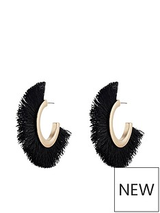 accessorize-statement-fringe-hoop-earring-black