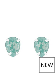 accessorize-sterling-silver-swarovski-teardrop-stud-green