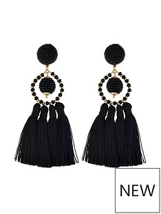 accessorize-block-colour-tassel-earrings-black