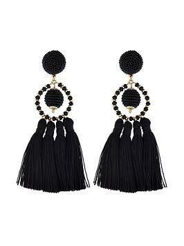 accessorize-block-colour-tassel-earrings-black