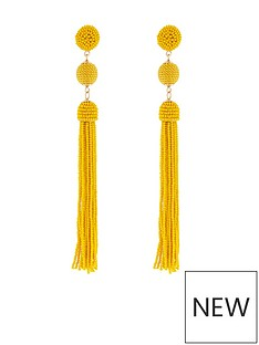 accessorize-beaded-tassel-and-ball-statement-earring-yellow