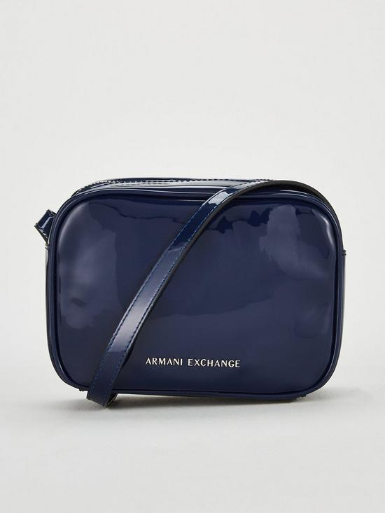 29f52a45a8a0 Armani Exchange Patent Faux Leather Small Crossbody Bag - Blue ...