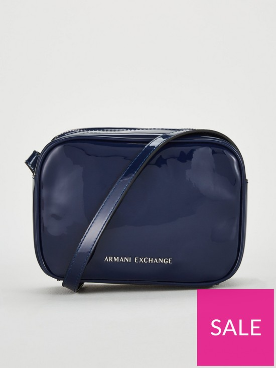 7b73d5dd7 Armani Exchange Patent Faux Leather Small Crossbody Bag - Blue ...