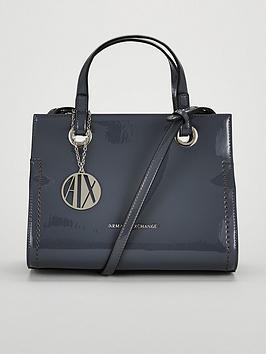 Armani Exchange Patent Pu Small Shopper Tote Bag