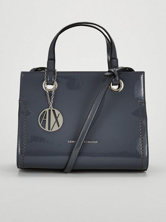 Armani Exchange Patent PU Small Shopper Tote Bag   very.co.uk 8a2a89ff08