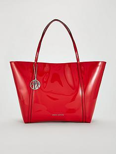 455b3665c87b Armani Exchange Patent Pu Shopper Tote Bag - Red