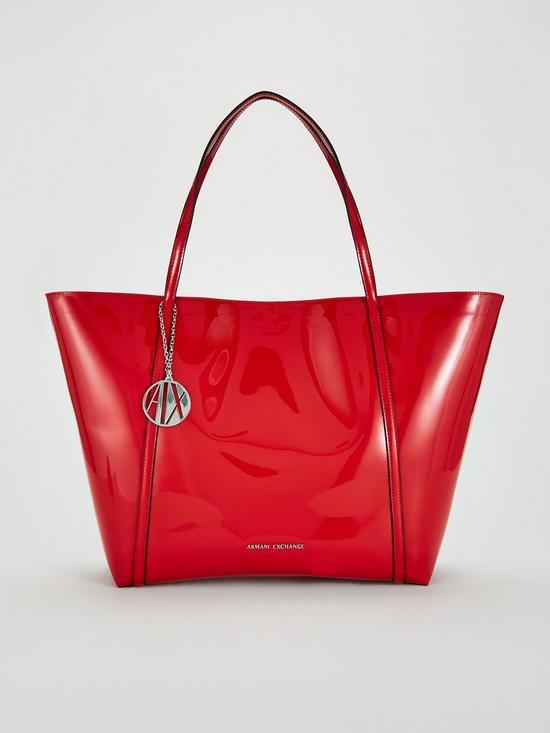 Armani Exchange Patent Pu Shopper Tote Bag - Red  06cfcb07c2f93
