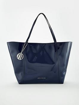 Armani Exchange Patent Pu Shopper Tote Bag - Navy