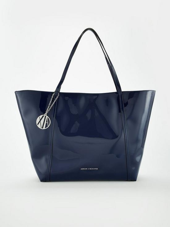 ec8d4fce75b5 Armani Exchange Patent Pu Shopper Tote Bag - Navy