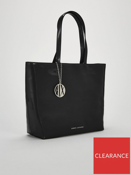 Armani Exchange Patent PU Shopper Tote Bag  4064d623a9ea5