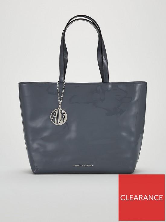 Armani Exchange Patent PU Shopper Tote Bag  85b74d440155b