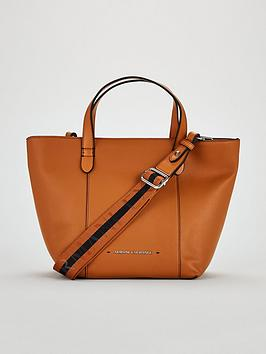 Armani Exchange Pebble Faux Leather Medium Shopper Tote Bag - Tan