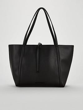 Armani Exchange Nappa Faux Leather Medium Shopper Tote Bag - Black