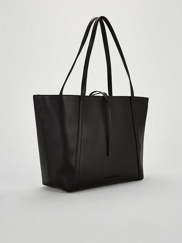 Armani Exchange Nappa Faux Leather Medium Shopper Tote Bag - Black ... 1af796befa6