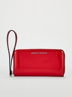 armani-exchange-wristlet-round-zip-wallet-red