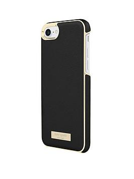 kate-spade-new-york-wrap-case-for-iphone-8-andnbspiphone-7--nbspsaffiano-blackgold-logo-plate