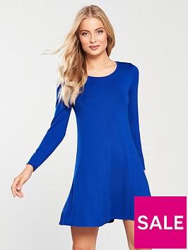v-by-very-long-sleeve-jersey-swing-dress-ndash-cobalt