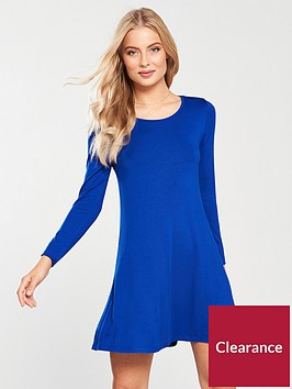 v-by-very-long-sleeve-jersey-swing-dress-ndash-cobalt
