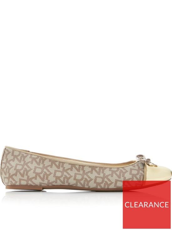 0584e9275212c7 DKNY Mia Logo Ballerina Bow Flat Shoes - Gold | very.co.uk