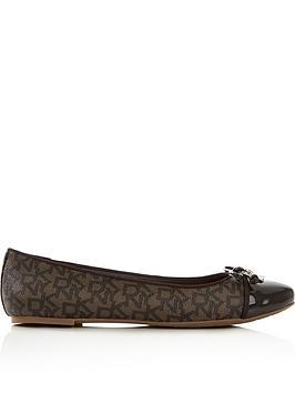 dkny-mia-logo-ballerina-bow-flat-shoes-brown