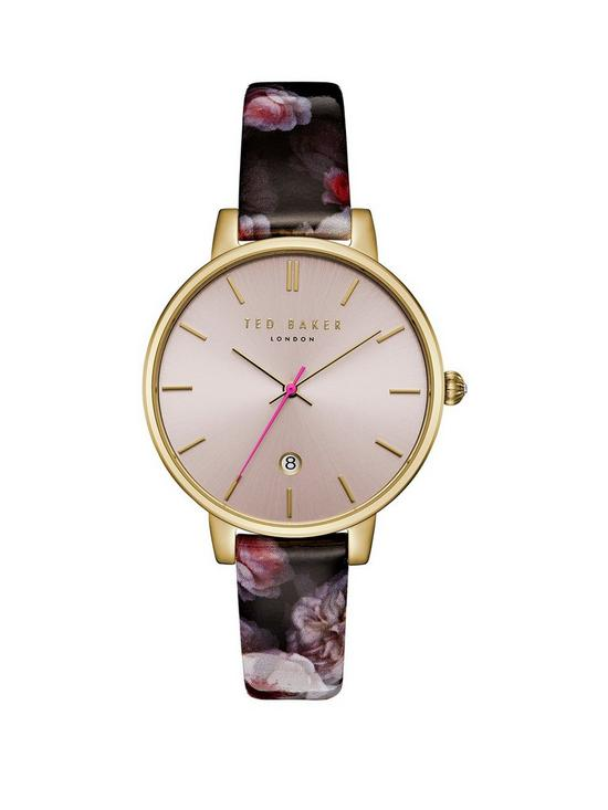 4bd7f7a2a Ted Baker Blush and Gold Dial Floral Print Strap Ladies Watch