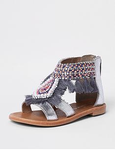 80051192aea7a3 River Island Mini Girls silver fringe embellished sandals