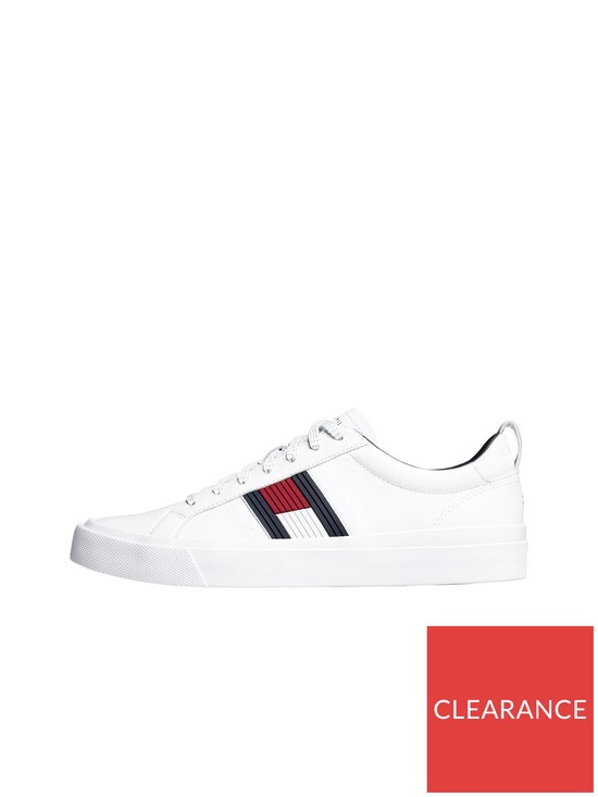 823e976a003c Tommy Hilfiger Flag Detail Leather Trainer - White