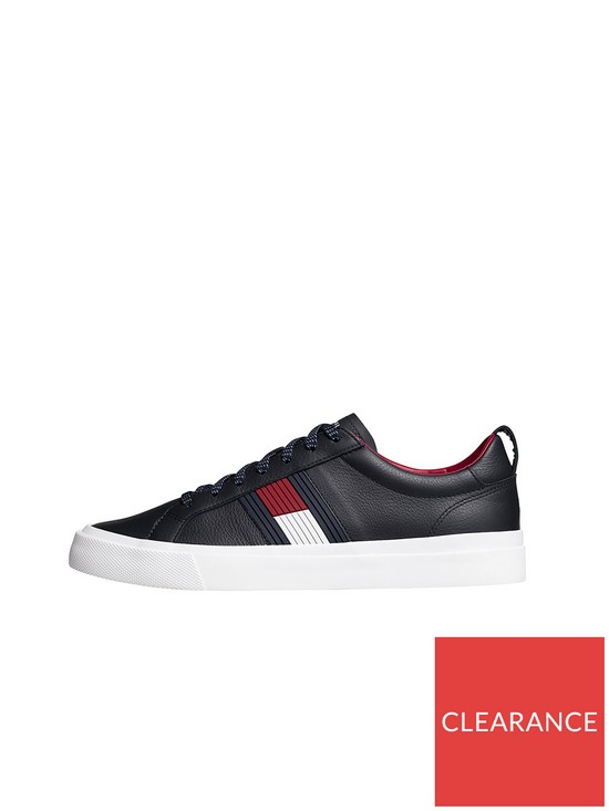 502e27138 Tommy Hilfiger Flag Detail Leather Trainer - Midnight