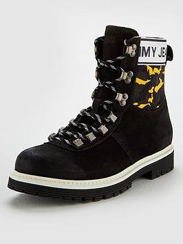 Tommy Jeans Camo Hiking Boot, Black, Size 6, Men thumbnail