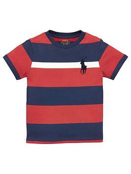 Ralph Lauren Boys Short Sleeve Big Pony Stripe T-shirt, Red Multi, Size 2 Years thumbnail