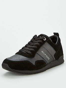 tommy-hilfiger-iconic-leather-suede-mixnbsptrainers-black