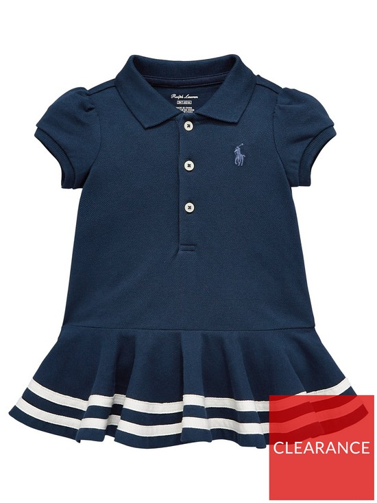 2c0ed2863 Ralph Lauren Baby Girls Short Sleeve Striped Polo Shirt Dress - Navy ...