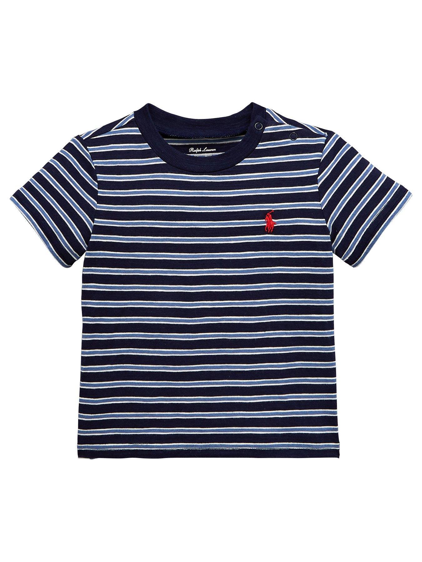 Ralph Lauren Baby Boys Short Sleeve Fine Stripe T-shirt