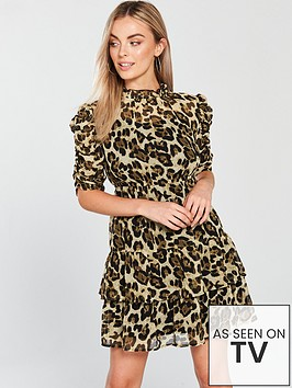 v-by-very-petite-ruched-sleeve-skater-dress-printed
