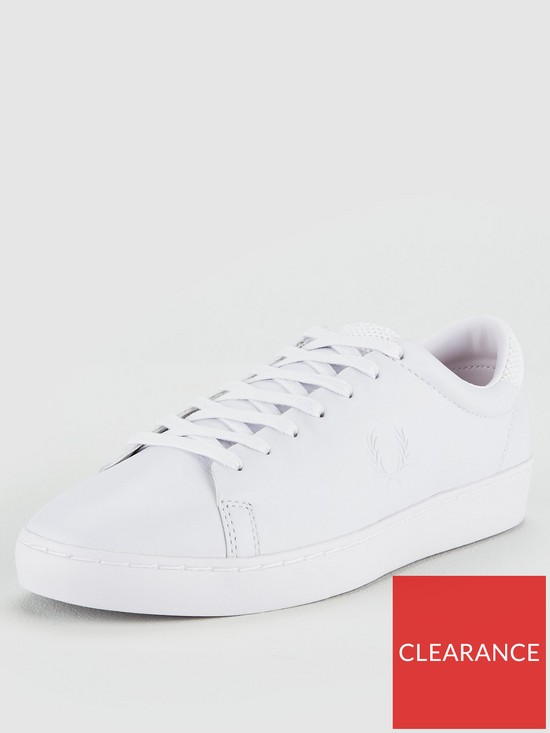 2fabdf6ec73 Fred Perry Spencer Premium Leather Trainers - White | very.co.uk
