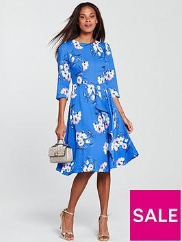 v-by-very-midi-dress-blue-print