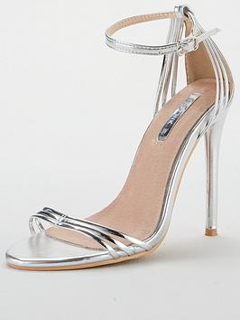 Lost Ink Faye Wide Fit Barely There Sandal - Silver