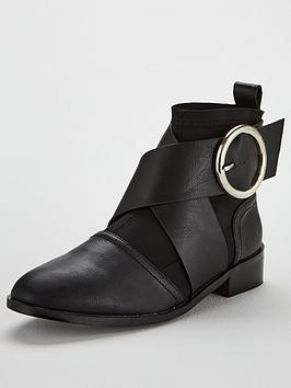 lost-ink-lycra-mix-flat-ankle-boot-black