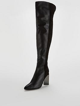 Lost Ink Feature Heel Mix Material Over The Knee Boot - Black