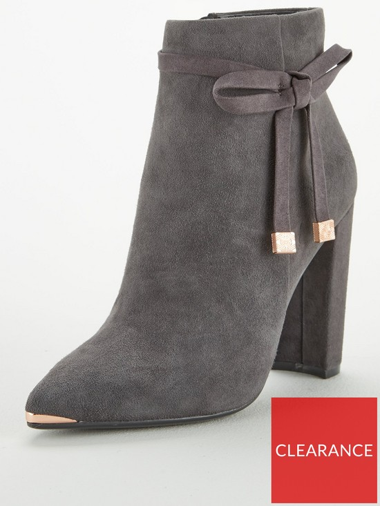 dd51bd0b8ce47e Ted Baker Qatena Suede Bow Ankle Boot - Charcoal