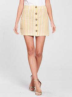 miss-selfridge-button-through-a-line-linen-mini-skirt-lemon-stripe