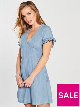 miss-selfridge-petite-denim-tie-back-ruffle-sleeve-dress-bluenbsp