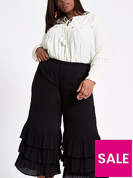 ri-plus-river-island-triple-frill-crop-wide-leg-trouser-black