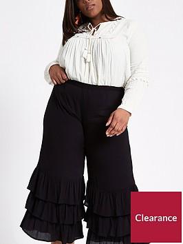 ri-plus-river-island-triple-frill-crop-wide-leg-trouser-black