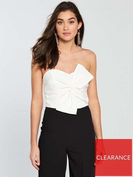 d8657c473d9 ... Miss Selfridge Colour-Block Bandeau Structured Jumpsuit - Monochrome.  View larger