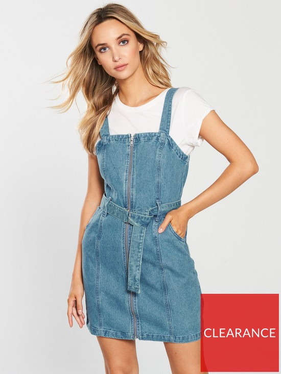 26ff69866e4 Miss Selfridge Zip-through Denim Pinny Dress - Blue