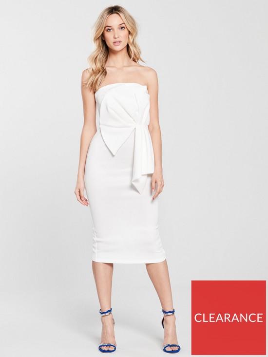 f1383bbf3fee Miss Selfridge Fan Bandeau Midi Dress - Ivory | very.co.uk
