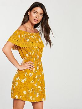 miss-selfridge-floral-bardot-dress-ochre