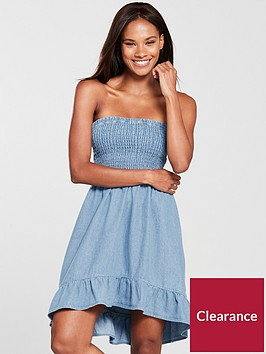 miss-selfridge-miss-selfridge-bandeau-sheered-denim-mini-dress