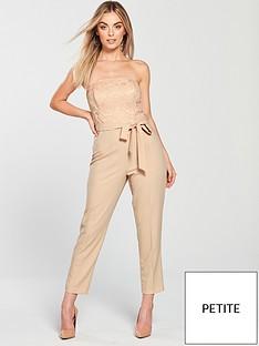 23863a20373 Miss Selfridge Miss Selfridge Petite Notch Detail Lace Top Jumpsuit